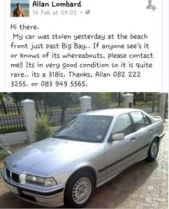 Car Stolen near Big Bay